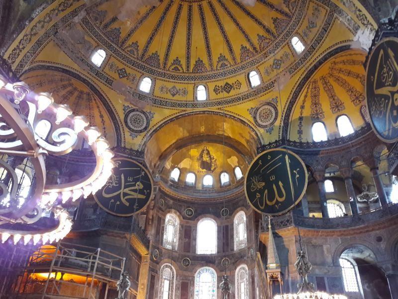 Interior Hagia Sophia di Istanbul,. Turki