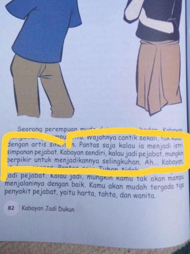 Salah satu halaman dalam buku yang berkonten dewasa dan kata-kata yang tak patut untuk anak-anak.