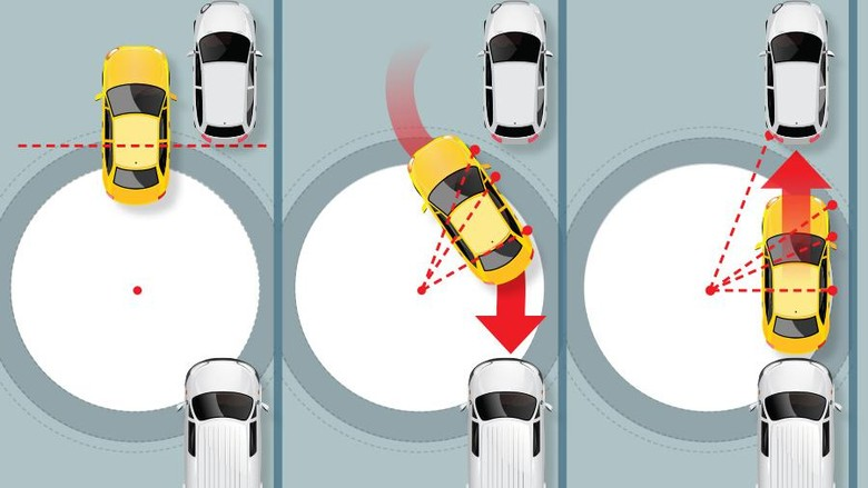 Trik parkir paralel (Foto: Fuad Hasim)