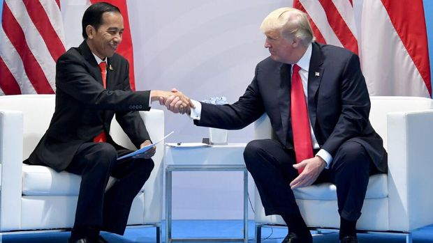 Presiden Jokowi bertemu Presiden AS Donald Trump di sela KTT G20 di Hamburg, Jerman