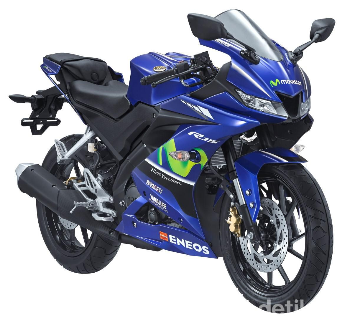 Yamaha kembali memberi kejutan kepada konsumennya. Bertempat di arena Jakarta Fair Kemayoran, Yamaha merilis 5 motor versi Movistar Yamaha, Sabtu (8/7). Lima motor tersebut antara lain R25, All New R15 VVA 155, All New V-ixion, AEROX 155 VVA dan MX King.
