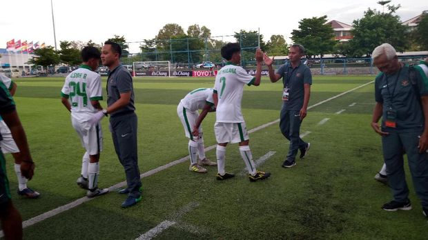 Timnas Indonesia U-16 saat tampil di Piala AFF U-15. (