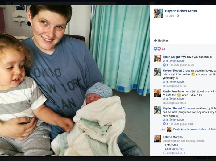 Hayden Cross, seorang transgender yang lahirkan bayi perempuan. Foto: facebook/Hayden Robert Cross