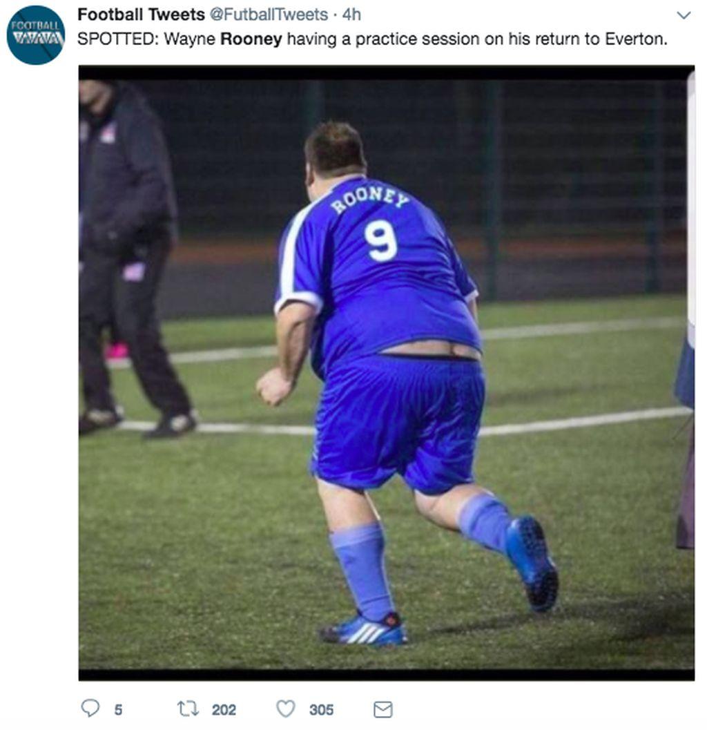Ada netizen membuat meme ini, menggambarkan kondisi Rooney sudah tidak fit. Foto: istimewa