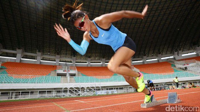 Atlet sapta lomba, Emilia Nova (Foto: Hasan Alhabshy/detikcom)
