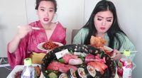 Mukbang dengan sushi.