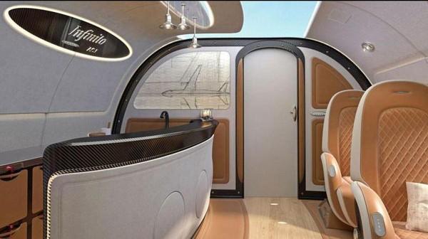Meja bar di dalam pesawat. Kembali ke langit-langit pesawat yang transparan di atas, penumpang dapat meminta atapnya agar bisa menyiarkan gambar lainnya (Dok. Airbus)