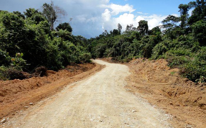Khusus di Provinsi Papua Barat, jalan Trans Papua sepanjang 1.070,62 km yang terbagi dua ruas. Ruas I dari Sorong-Maybrat-Manokwari dengan panjang 594,81 km. Jalan ini membentang menembus hutan dan membelah bukit. Dok. BPJN XVII Papua Barat. Dok. BPJN XVII Papua Barat.