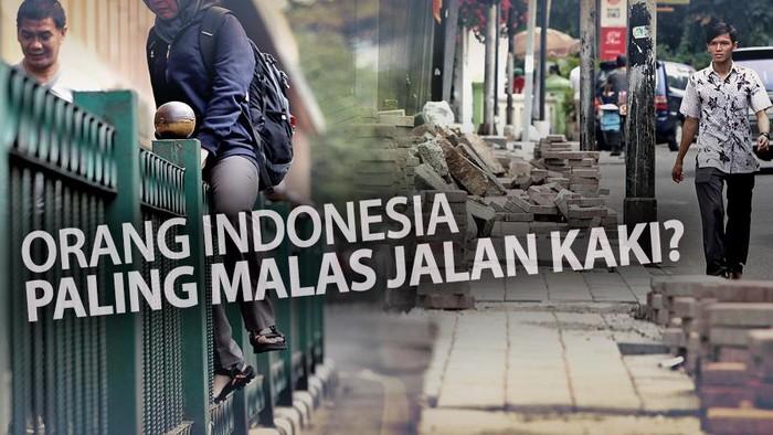 Indonesia dinyatakan sebagai negara nomor satu yang masyarakatnya malas jalan kaki. Apa yang membuat orang malas berjalan kaki di Jakarta? (Foto: infografis)