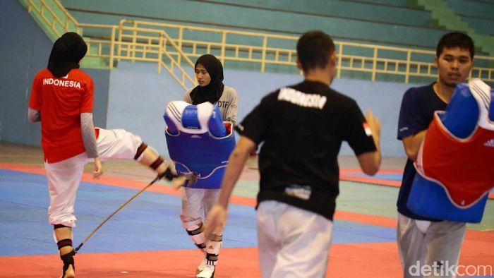 Suasana latihan timnas taekwondo (Hasan Alhabshy/detikSport)
