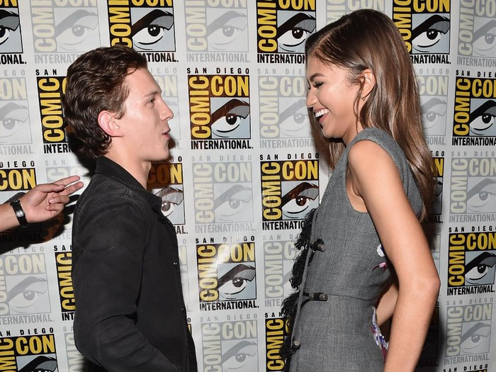 SAN DIEGO, CA - JULY 23: Actors Tom Holland (L) and Zendaya from Marvel Studios'