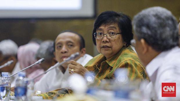 Menteri Lingkungan Hidup dan Kehutanan Siti Nurbaya, di Komisi VII DPR, Jakarta, 2017. Ia meminta bantuan KPK dalam mengeksekusi lahan sawit DL Sitorus.