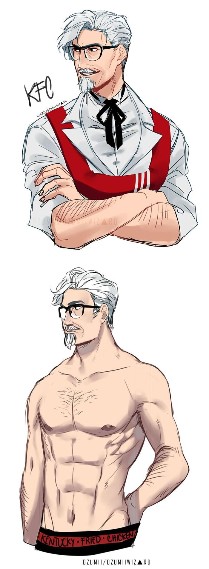 Ozumii Wizard membuat tokoh anime dari ikon-ikon resto fast food ternama. Salah satunya Colonel Sanders yang nampak gagah dengan perut sixpack meski rambutnya tetap berwarna putih.