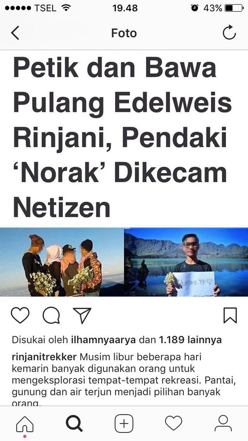 Akun Instagram @rinjanitrekker yang mengunggah aksi para pendaki ndeso itu (Dok. Forum Komunikasi Rinjani Bagus)