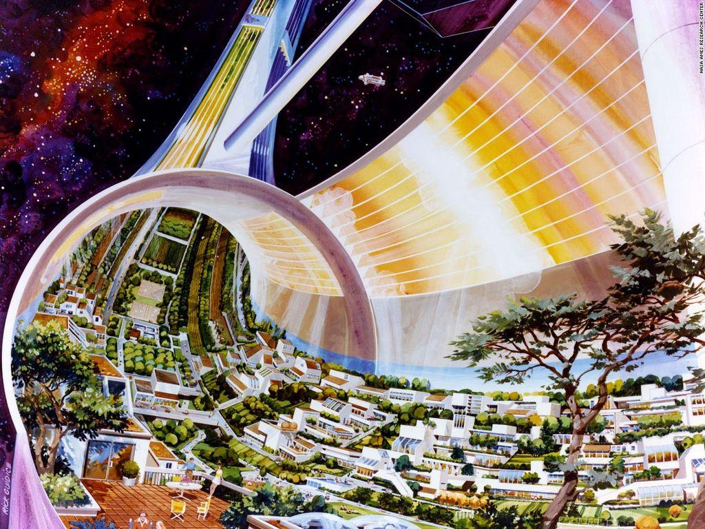 Pada tahun 1975, grup riset yang dipimpin profesor Gerard O'Neill mengilustrasikan kira-kira seperti apa permukiman manusia di luar angkasa. Riset ini disponsori oleh NASA. Foto: NASA