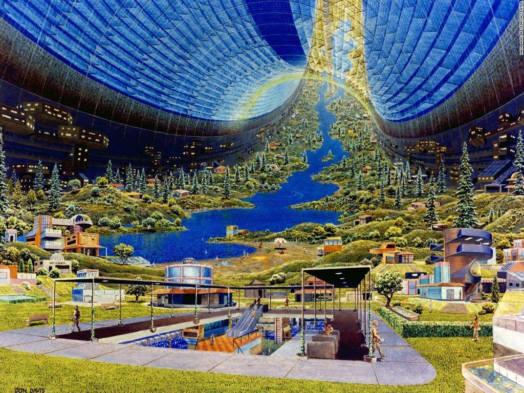 Tim O'Neill mengetengahkan tiga desain potensial permukiman manusia di angkasa, yaitu Bernal Sphere, Toroidal Colony (gambar) dan Cylincrical Colony. Manusia yang bisa ditampung sekitar 10 ribu sampai sejuta orang dengan desain bisa berotasi untuk membuat gravitasi tiruan. Foto: NASA