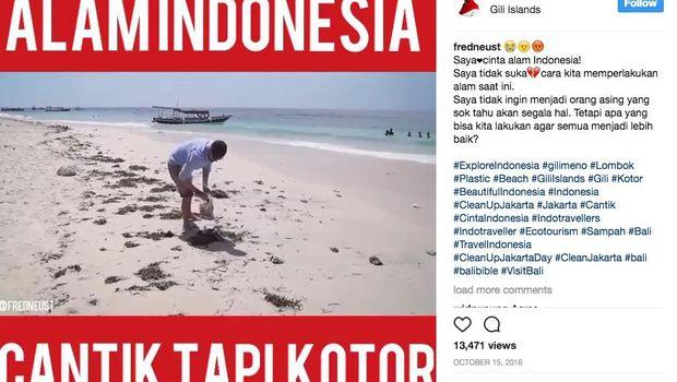 Potongan video Frederik saat membersihkan sampah di Gili Trawangan (Instagram/fredneust)