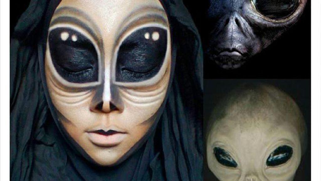 Mirip Banget! Hijabers Cantik Ini Rias Wajah Seperti Cinderella Hingga Alien