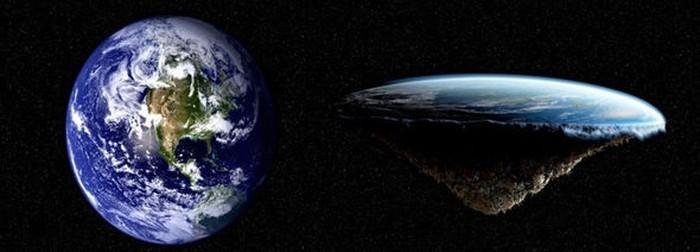 Ilustrasi Bumi bulat dan datar. Foto: Internet
