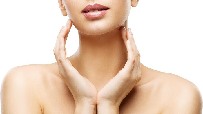 Skin Care Beauty, Woman Lips and Hands Skincare, Healthy Body, isolated over White Background