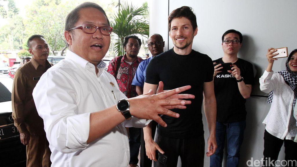 Pemilik aplikasi Telegram, Pavel Durov bertemu dengan Menteri Komunikasi dan Informatika (Kominfo) Rudiantara, di Jakarta, Selasa (1/8/2017).