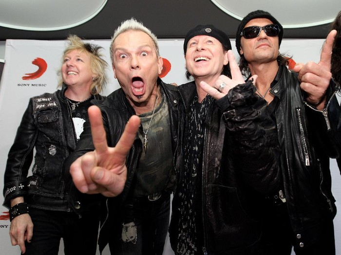 MUNICH, GERMANY - MAY 08:  (L-R) James Kottak, Rudolf Schenker, Klaus Meine, Matthias Jabs and Pawel Maciwoda of German rock band Scorpions pose prior to their Sting In The Tail tour on May 8, 2010 in Munich, Germany.  (Photo by Miguel Villagran/Getty Images)