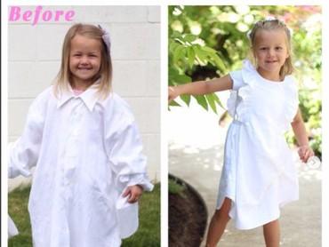 Gimana dengan dress putih ini, Bun? Nggak kelihatan dibuat dari kemeja bekas ya? (Foto: Instagram/ @mothermakesx4)