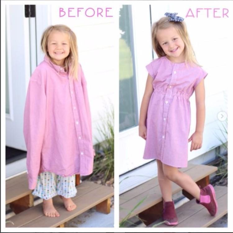Kemeja suami yang sudah kekecilan bisa disulap jadi dress anak yang cantik. (Foto: Instagram/ @mothermakesx4)
