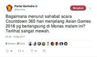 Gerindra Bandingkan Countdown Asian Games dan Wacana Apartemen DPR