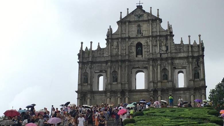 Reruntuhan Gereja St Pauls di Makau (Aji Bagoes Risang/detikTravel)