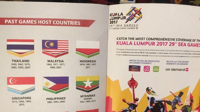 Bendera Indonesia terbalik di Buku Panduan SEA Games 2017 (Istimewa)