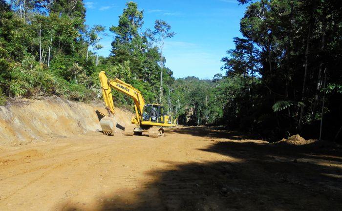Ekskavator membuka hutan untuk dijadikan Jalan Trans Papua segmen I. (BP Jalan Nasional XVII Manokwari-Papua Barat).