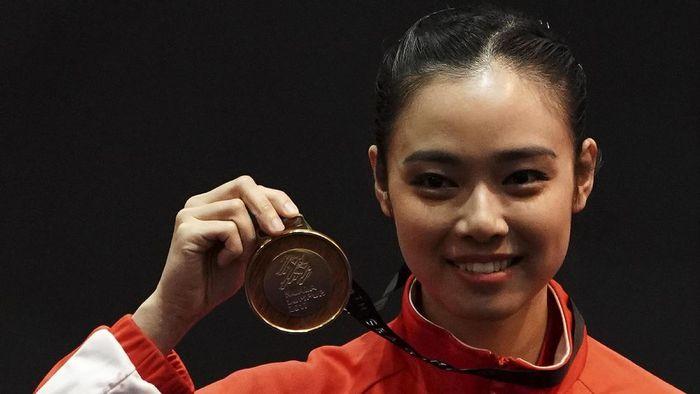Lindswell Kwok sukses meraih medali emas dari nomor taijijian putri di SEA Games 2017 Kuala Lumpur.  (Wahyu Putro A/Antara Foto)