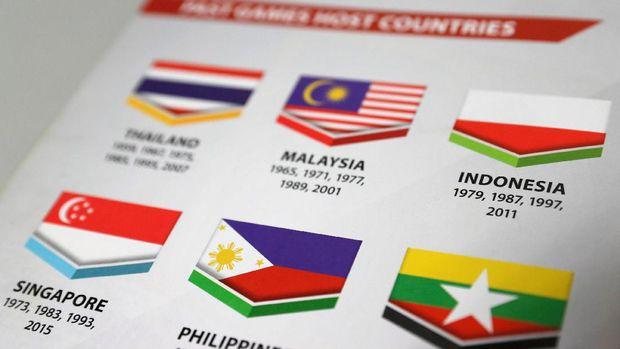 Bendera Indonesia dicantumkan terbalik di buku panduan SEA Games 2017. (