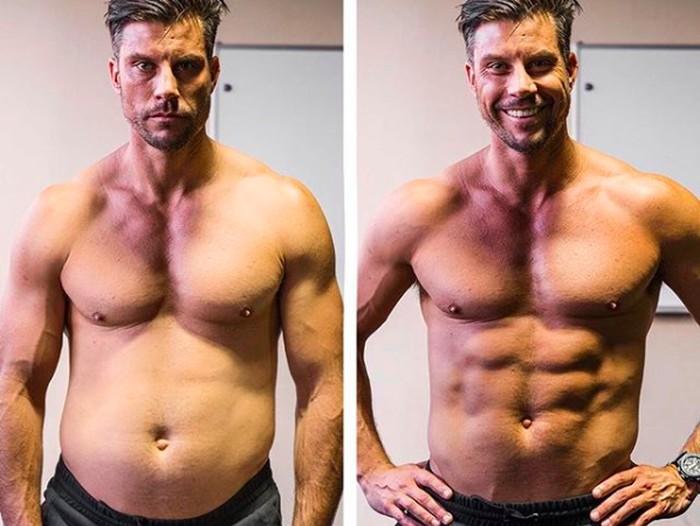 Foto Sam Wood dengan perut menggembung dan perut sixpacknya, hanya berselisih 5 detik. Foto: Instagram/28ysamwood