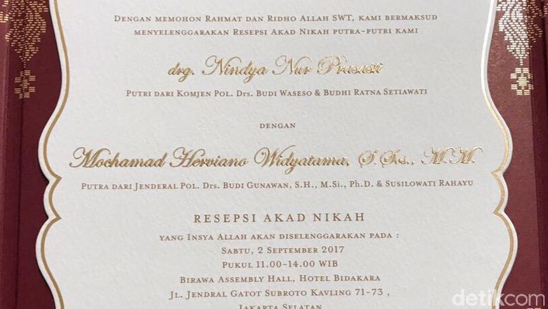 Ini Undangan Pernikahan Anak Jenderal Bg Dan Komjen Buwas