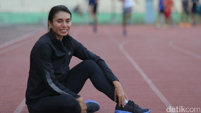 Maria Londa, atlet lompat jauh dan lompat jangkit atletik dari Indonesia (Foto: Agung Pambudhy/detikSport)