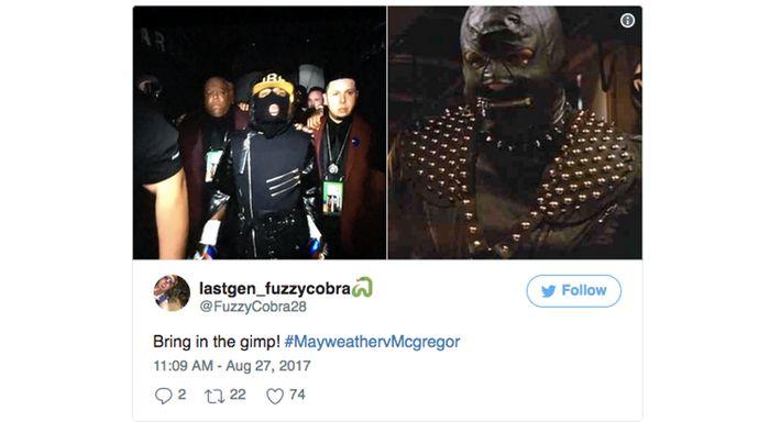 Meme ini menyinggung jubah plus masker yang dikenakan oleh Mayweather saat hendak naik ring. (Foto: Screenshot Twitter)