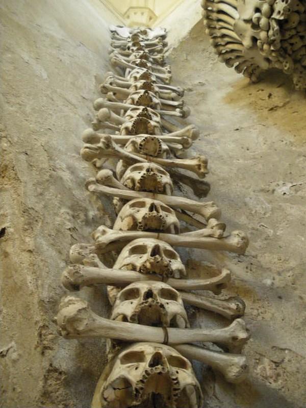 Pada tahun 1870, Frantisek Rindt, seorang pemahat kayu menyusun rapi dan artistik tulang belulang di dalam kamepl. Dia menyusun kepala manusia di dekat pintu masuk, hingga lampu-lampu yang dihiasi dengan tulang pinggul dan tulang paha (sedlecossuary.com)