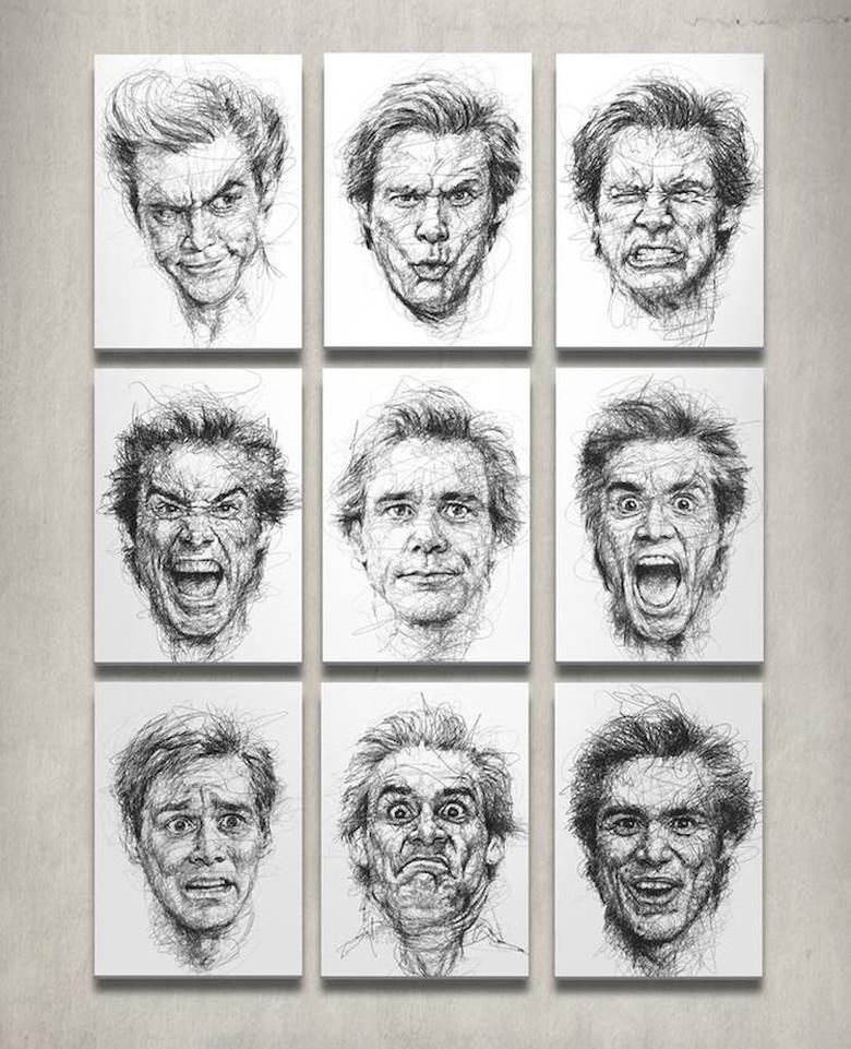Seniman Pengidap Disleksia Bikin Goresan Scribble Jim Carrey
