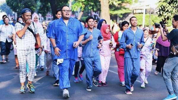 Aksi RAN Keliling Jakarta dengan Piyama