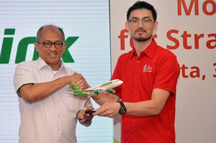 Kerjasama itu dilakukan oleh President Director JD.ID, Zhang Li dengan Direktur Utama Citilink Indonesia Juliandra Nurtjahjo. Foto: dok. Citilink