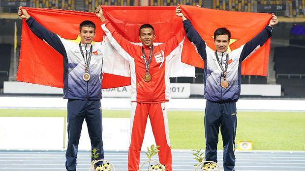 Atjong Tio Purwanto, peraih emas lari halang rintang di SEA Games 2017 Kuala Lumpur.