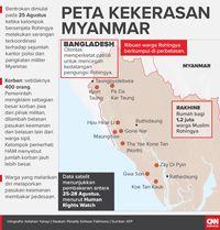 Peta kekerasan Myanmar hingga akhir Agustus.