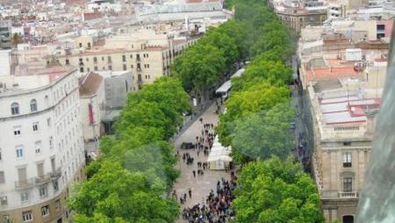 Pedestrian Rambla, Barcelona, Spanyol