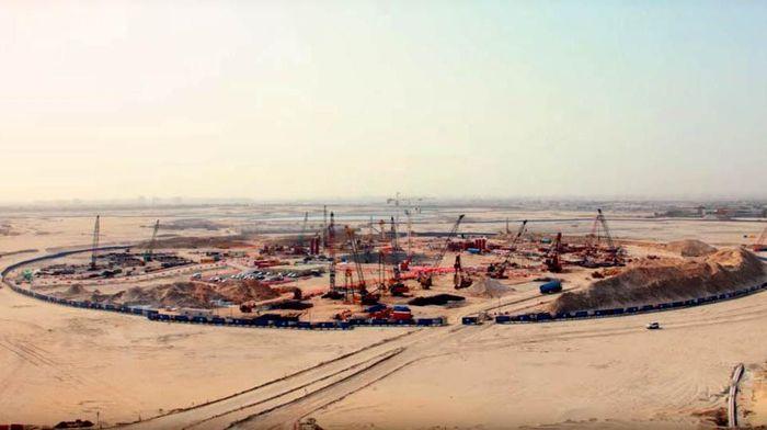 Proses pembangunan pondasi Dubai Creek Tower yang dimulai sejak 2016 lalu. (Inhabitat)