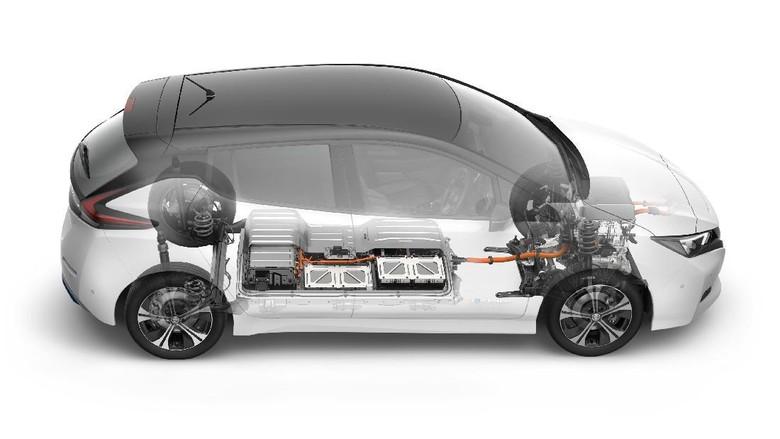 Baterai mobil listrik bawah lantai kabin. Foto: Nissan