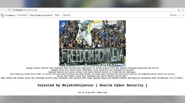 Situs PSSI terkena hack.