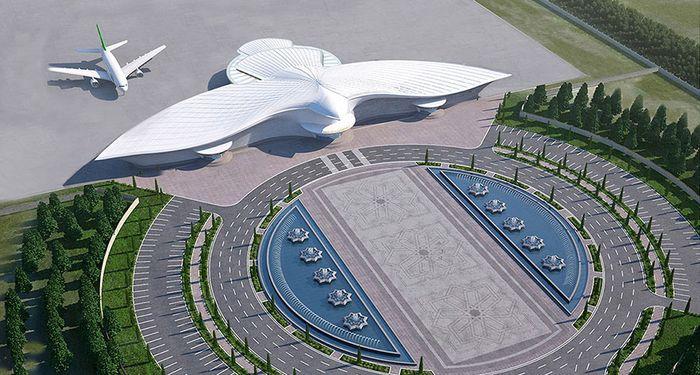 Ini dia penampakan Bandara di Turkmenistan dengan arsitektur berbentuk seperti burung elang. Istimewa/Polimeks/Boredpanda.