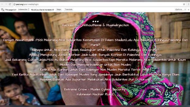Peretas situs PSSI menggugat keputusan yang menghukum aksi solidaritas untuk Rohingya.